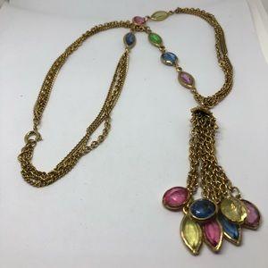 CLEARANCE -Vintage gold multicolor tassel necklace